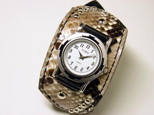 ダイヤモンドパイソン サドルレザー(ヌメ革)リストウォッチ・時計 wa15