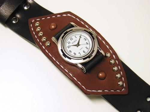 ブラック×ブラウン サドルレザー(ヌメ革)リストウォッチ・時計 wa17