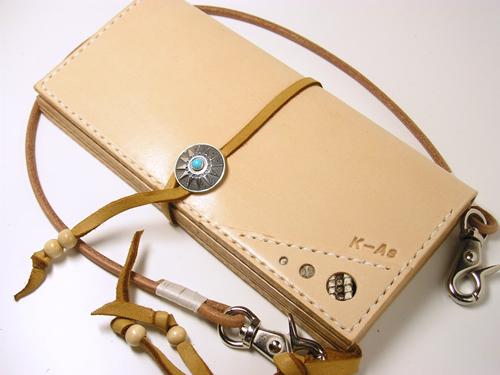 SILVER950ターコイズコンチョ■サドルレザー(ヌメ革)ロングウォレット ウォレットロープ付■lw2