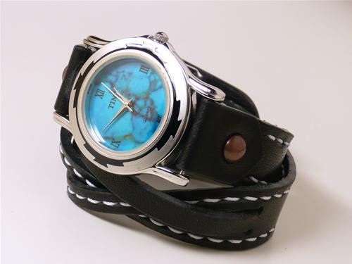 サドルレザー(ヌメ革)二連リストウォッチ・時計