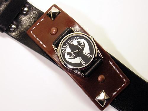 ブラック×ブラウン サドルレザー(ヌメ革)リストウォッチ・時計 wa5